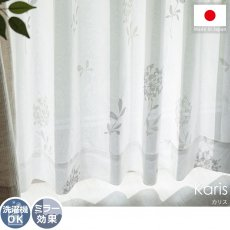 ライトグレーのボタニカル柄がお洒落! 安心の日本製レースカーテン『カリス』