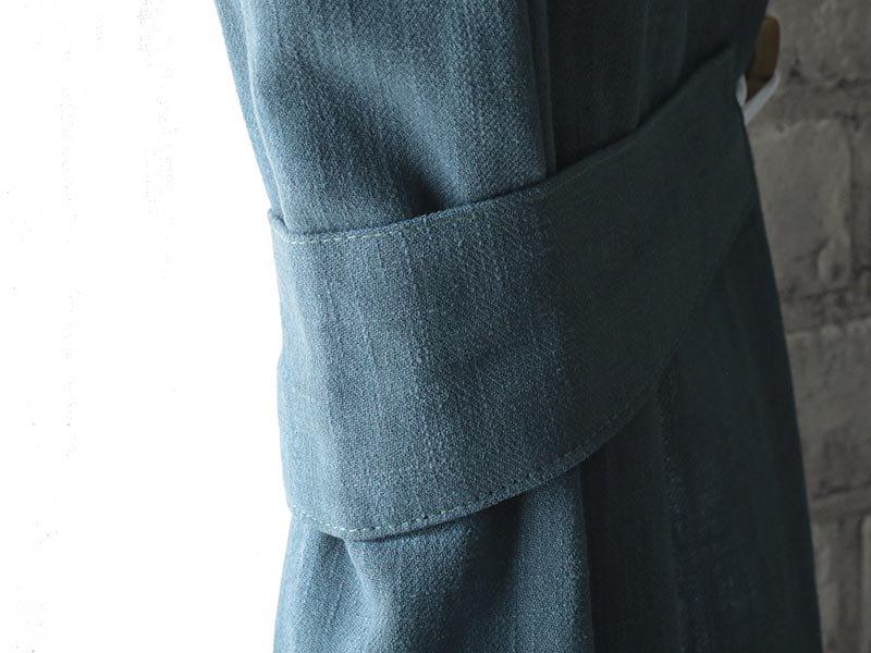 【1.5倍ひだ】天然素材リネン100%!10色から選べる無地カーテン 『ピュアリーネ デニム』
