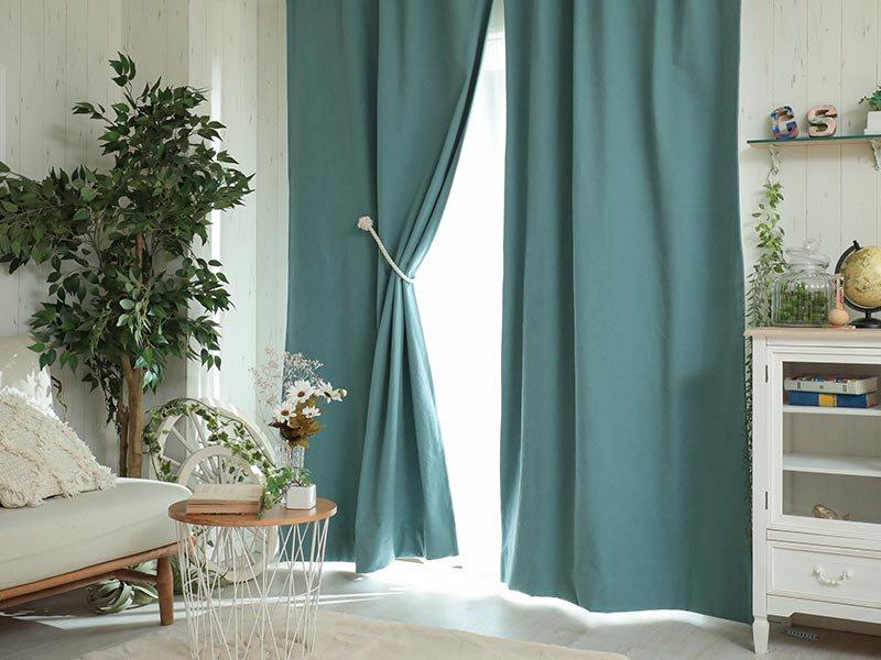 【フラット】しっかりしたキャンバス地の2級遮光ドレープカーテン 『ラフィネ ブルー』
