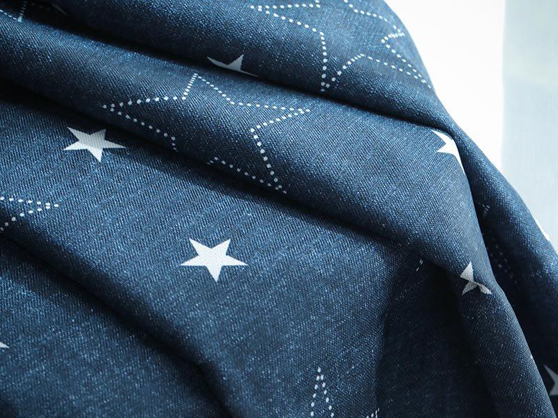 100サイズから選べる!デニム地に星柄のカジュアルデザインカーテン 『デニスター ネイビー』