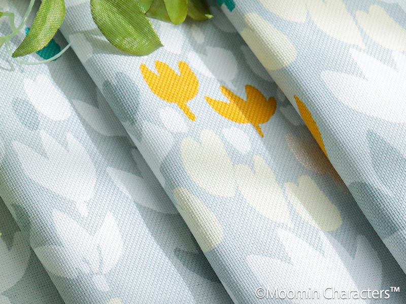 ムーミンシリーズ!ムーミンと仲間たちの北欧デザインドレープカーテン 『ソフトメロディー ブルー』