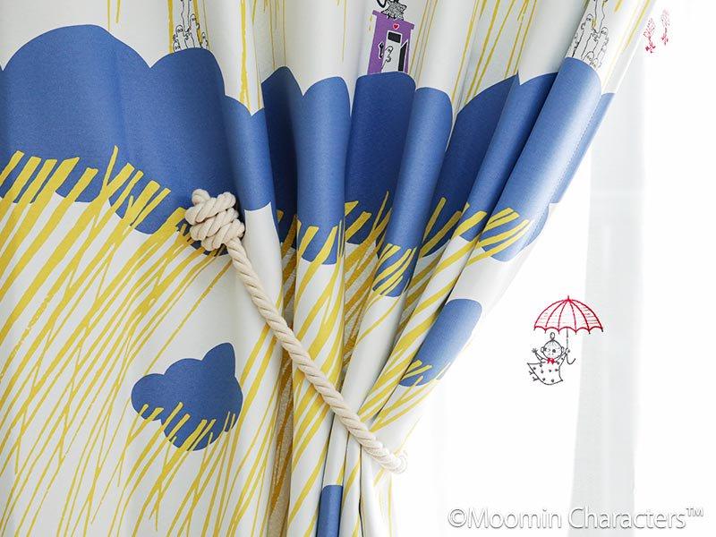 ムーミンシリーズ!ムーミンと仲間たちの北欧デザインドレープカーテン 『レインドロップス ブルー』