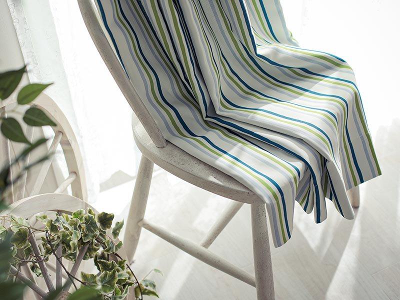 100サイズから選べる!カラフルなストライプ柄がお洒落なドレープカーテン『スカーレ ブルー』