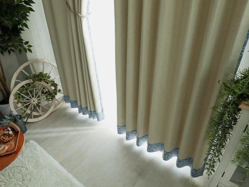 外からの見栄え重視!両面可愛い1級遮光小花柄カーテン 『フラーレン ブルー』