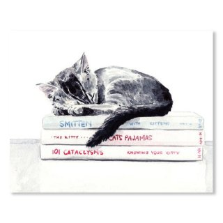 Sleepy Kitten Cat On Books Library Cute Kity Gray Striped