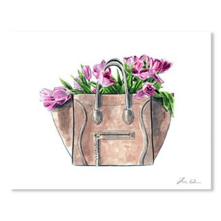 Celine Luggage Handbag With Pink Tulips