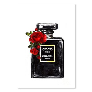Chanel Noir Perfume Print With Red Roses