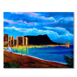 Diamond Head and Waikiki Beach by night #92