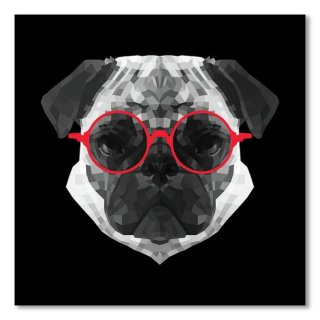 Pug In Red Glasses