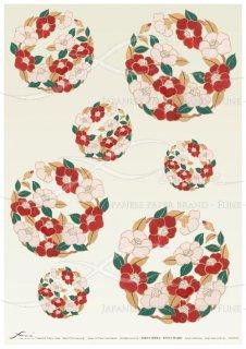 アートペーパー「FUNE」JSAD1015 陶絵 椿花丸紋