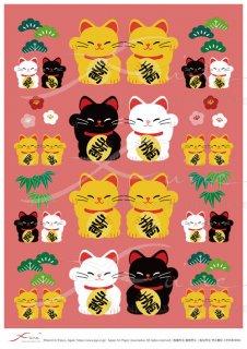 アートペーパー「FUNE」ATNM03006 招き猫松竹梅