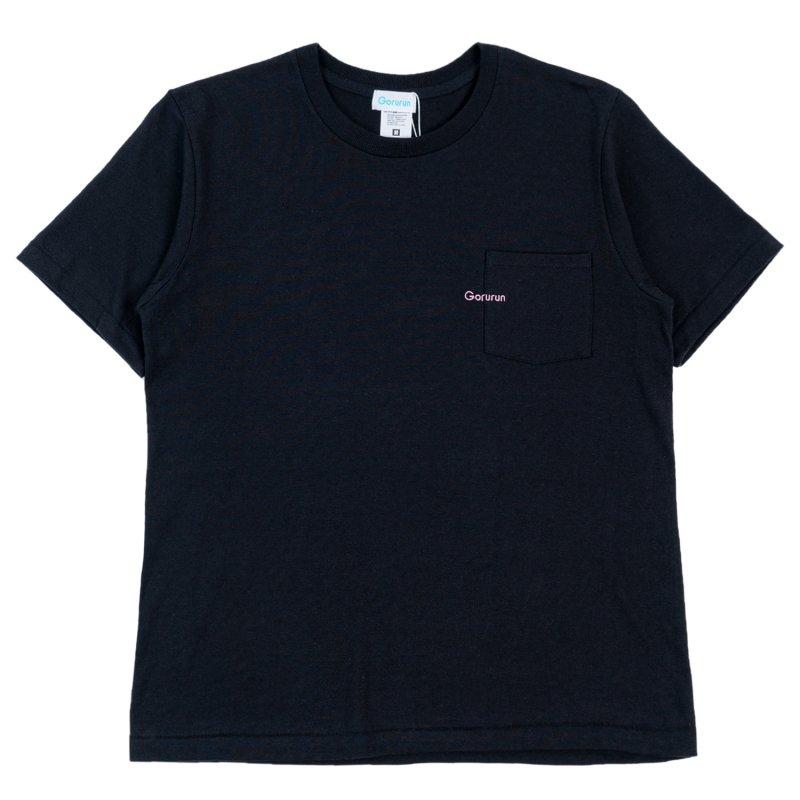 ミニロゴ刺繍 ポケット Tシャツ / ブラック