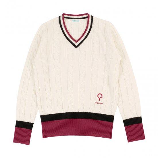 レディース ケーブル Vネック ニットセーター / アイボリー × チェリーピンク
