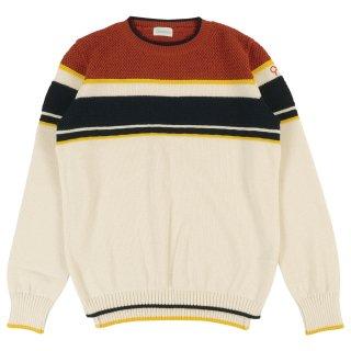 メンズ ボーダークルーネックニットセーター / ホワイト × ネイビー