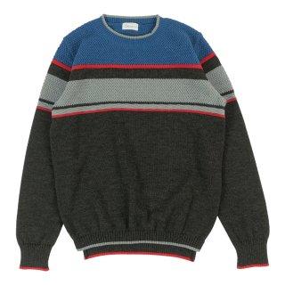 メンズ ボーダークルーネックニットセーター / チャコール