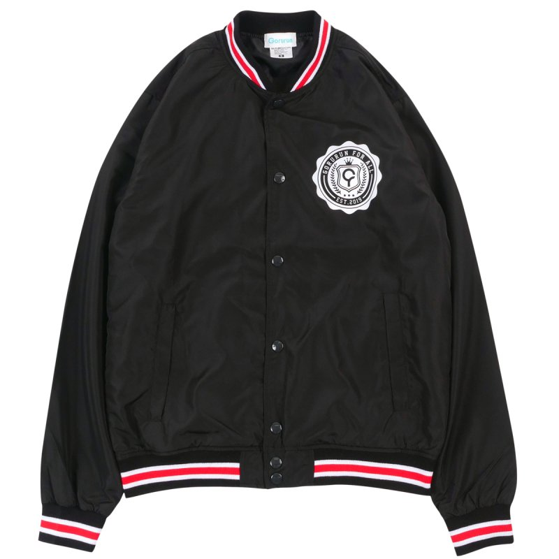 Gorurun カレッジナイロンスタジアムジャケット / ブラック