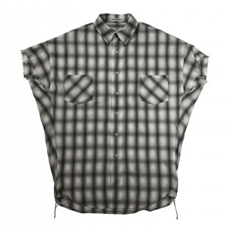 OMBRE CHECK SHORT SLEEVES SHIRTS(WHITE)