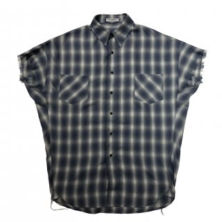 OMBRE CHECK SHORT SLEEVES SHIRTS(BLUE)