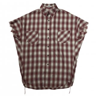 OMBRE CHECK SHORT SLEEVES SHIRTS(RED)