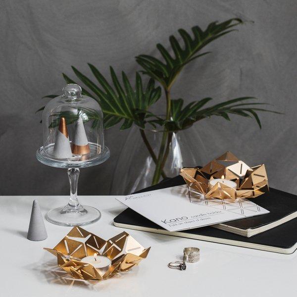KANO - brass geometric candle holder