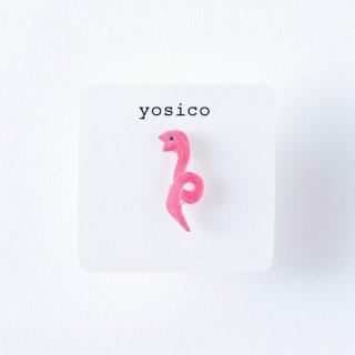 yosico ひとつぶピアス ヘビ桃