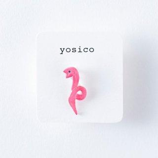 yosico ひとつぶイヤリング ヘビ桃