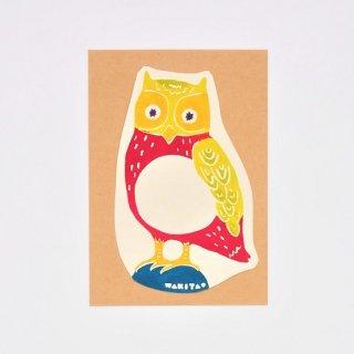 ワキタヨシコ 型染めカード フクロウ