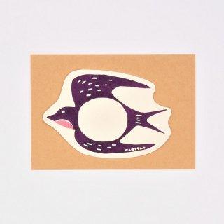 ワキタヨシコ 型染めカード ツバメ