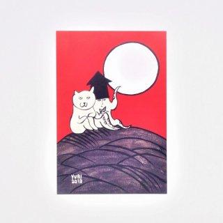 すぎはらゆり ポストカード 花札ねこ 芒に月