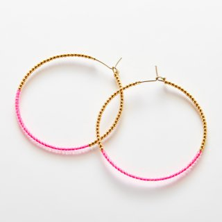 Candy Crassic Hoop Stone Hoop GOLD PINK