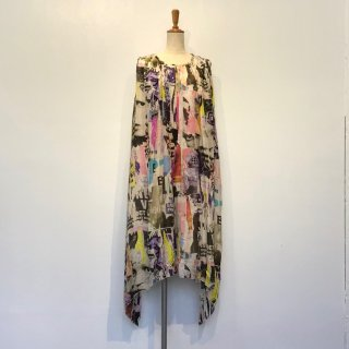 《BLUEMERIA ブルメリア》SILK GATHER DRESS シルクギャザードレス ワンピース リゾート アート
