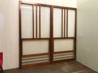 古民家から出た昭和レトロなガラス戸2枚セット リフォームやDIY素材として 古録展  店頭渡しのみ 中古 品番K13283