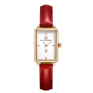 Vesta Red leather White Dial