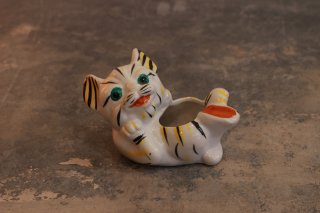 VINTAGE CERAMIC TIGER ASHTRAY 1950's