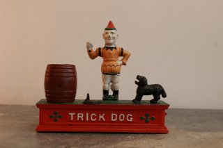 VINTAGE METAL COIN BANK(CLOWN&DOG)