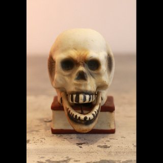 VINTAGE SKULL ON BOOK JAW CANDLE HOLDER 1950's