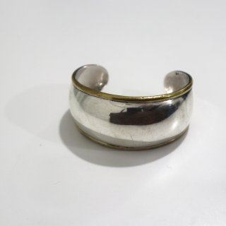 Mexican Silver & Brass Wide Bangle
