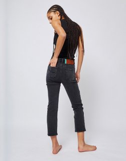 Slim straight denim pants