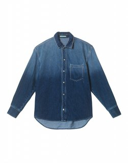 Oversize washed-denim shirt