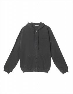 Zip-up pigeudaing hooded sweatshirt