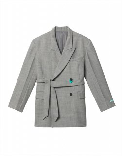 Belted double-breasted wool-blend jacket