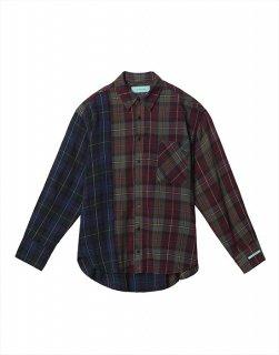 Oversize mixing check shirt