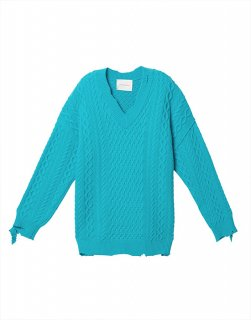 Cable v-neck wool-blend sweater