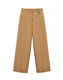 Pintucked cotton-blend trousers