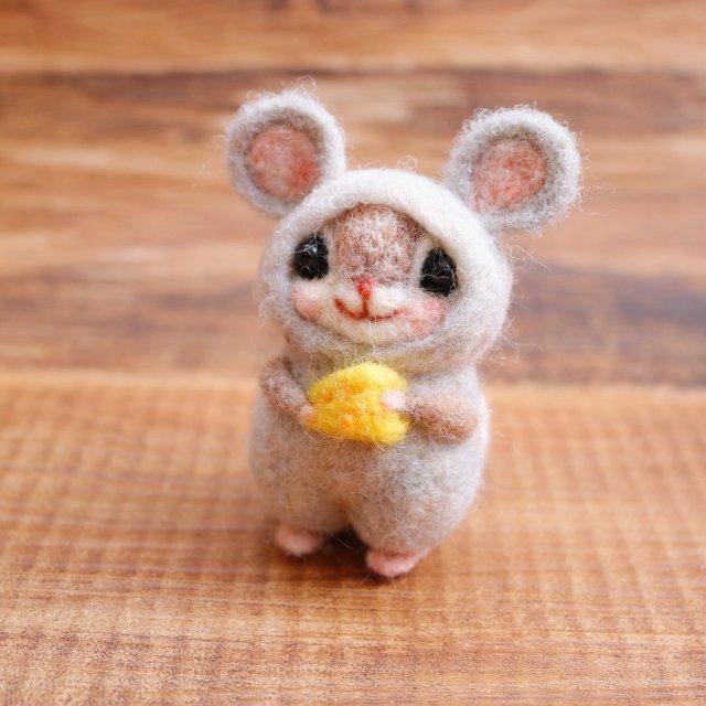 幸せのお守り 干支シリーズ「子」ネズミチーズ大好きmomoちゃん