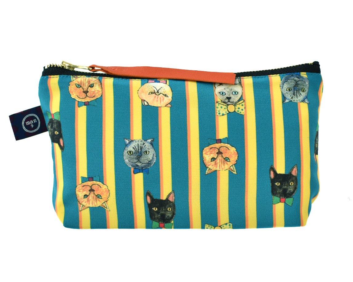 ポーチマチ付き_Bowtie cat smile stripe