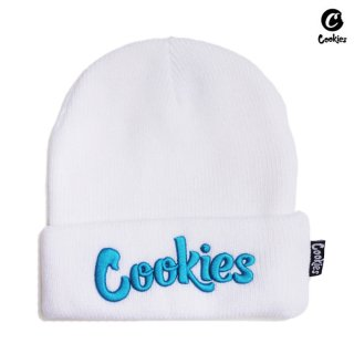 【メール便対応】COOKIES BEANIE【WHITE×BLUE】