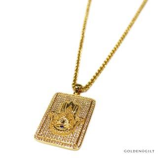 【送料無料】GOLDEN GILT HAMSA PLATE NECKLACE【GOLD】