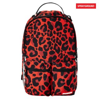 SPRAYGROUND LEOPARD DOUBLE CARGO SIDE SHARK BACKPACK【RED】