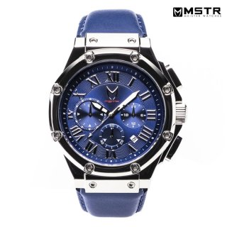 【送料無料】MSTR WATCHES AMBASSADOR【POLISH SILVER/BLUE/LEATHER BAND】【AM190LB】